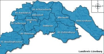 Landkarte Landkreis Lüneburg